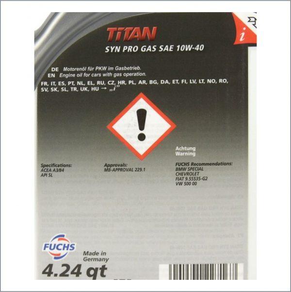 Моторное масло FUCHS TITAN SYN PRO GAS 10W-40 4L 2