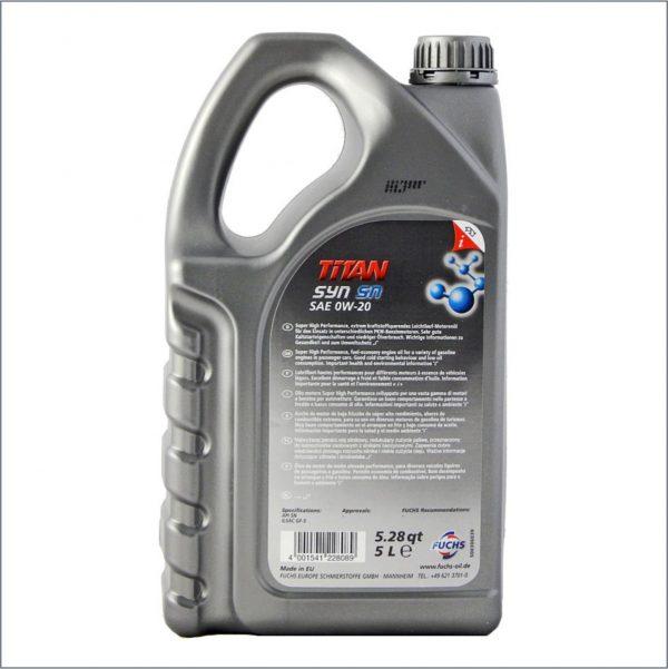Моторное масло Fuchs Titan Syn SN 0W20 5L 2