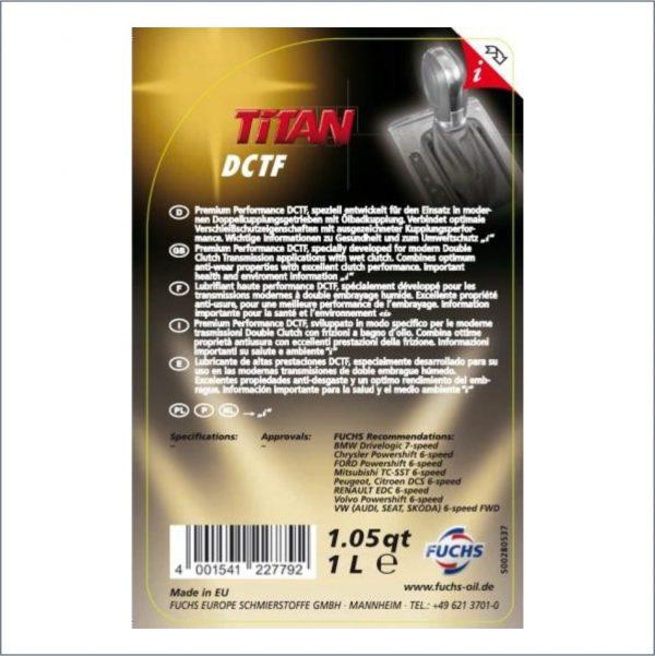 Жидкость для автоматических трансмиссий c двойным мокрым сцеплением Fuchs Titan ATF DCTF 1L 2